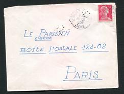 FRANCE- Enveloppe Du 13/11/1956 De ST MAUR LES FOSSES 60 Avec Y&T N°1011- (lettre Perforée) - Perfins