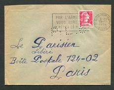 FRANCE- Enveloppe Du 19/11/1956 De SAINT OUEN SUR SEINE (seine) Avec Y&T N°1011 (lettre Perforée) - Perfins