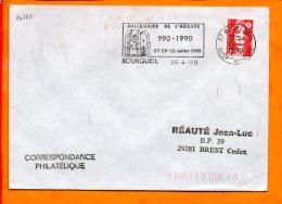 INDRE ET LOIRE, Bourgueil, Flamme SCOTEM N° 10781, Millénaire De L'abbaye, 990-1990 - Marcophilie (Lettres)