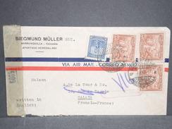 COLOMBIE - Enveloppe De Barranquilla Pour Calais En 1917 , Contrôle Postal - L 6720 - Colombia