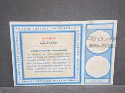 FRANCE - Coupon Réponse Surcharge En Manuscrit De Les Clayes Sous Bois - L 6723 - Documents De La Poste