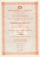 Portugal Obligation Titre De 50 Obligation Metro De Lisbonne Train 1987 Bond 50 Bonds Lisbon Subway  Railroad