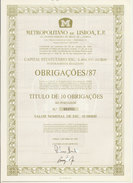 Portugal Obligation Titre De 10 Obligation Metro De Lisbonne Train 1987 Bond 10 Bonds Lisbon Subway  Railroad