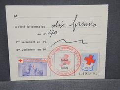 FRANCE - Vignettes Croix Rouge Sur Document En 1970 - L 6733 - Commemorative Labels