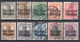 Poland 1916 - WW1 German Occupation  Mi 6,8-13,15,16 - 9v Gestempelt /used