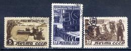 USSR 1946 991 + 993-994 (1082 + 1084-1085) POSTVODENNE RESTORATION AND DEVELOPMENT OF THE PEOPLE'S ECONOMY