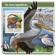 S. TOME & PRINCIPE 2017 - Water Birds, Pelicans S/S. Official Issue