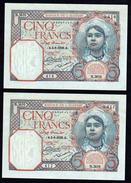ALGERIE: 5F Algérienne. N°77a. Lot De 2 Billets Neufs. Les Numéros Se Suivent. Bonne Date 03/06/1929