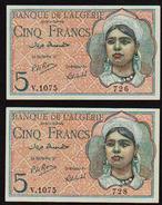 ALGERIE: 5F Algérienne. N°94b. Lot De 2 Billets. Date 02/10/1944. N° 726 Et 728 Suite.