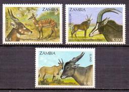 Zambia 1992 Antelopes, Fauna, Animals (3v) MNH (M-43)