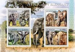 UGANDA 2012 SHEET ELEPHANTS ELEFANTES ELEFANTEN ELEFANTI WILDLIFE Ugn12103a - Uganda (1962-...)