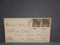 FRANCE / ALLEMAGNE - Enveloppe De Strasbourg Pour Paris En 1893 , Affranchissement Plaisant - L 6772 - Postmark Collection (Covers)