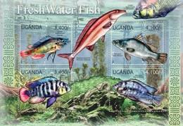 UGANDA 2012 SHEET FRESH WATER FISHES PECES POISSONS MARINE LIFE Ugn12105a - Uganda (1962-...)