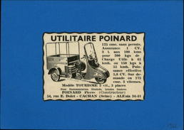 MOTO - TRIPORTEUR - Publicité Issue D'une Revue De 1952 Et Collée Sur Feuillet - Advertising