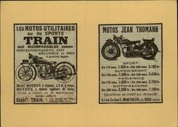 MOTO - Publicités Issues D'une Revue De 1929 Et Collées Sur Carton - Dollar - Train - Publicités