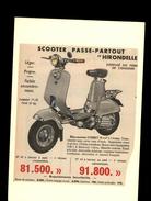 SCOOTER - Publicité Issue D'une Revue De 1956 Et Collée Sur Carton - - Publicités