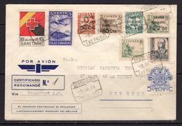 España 1937. Canarias. Carta De Las Palmas A New York. Censura. - Marcas De Censura Nacional