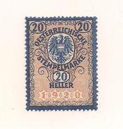 1 Austria Revenue Republik - 20 Heller - Ungebraucht - Steuermarken