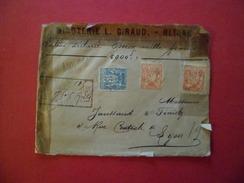 Lettre Valeur Déclarée 2000F De Blidah Algérie Le 28 Octobre 1898 Pour Lyon Le 31 Octobre 1898 Les N° 94 X2 Et 90  B/TB - 1877-1920: Semi-Moderne