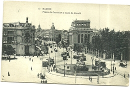 MADRID:   PLAZA  DE  CASTELAR  Y   CALLE   DE  ALCALA - Madrid