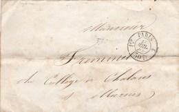 Lettre De 1854 De Paris à Chalons Sur Marne TAD Avec Mention  1er  PARIS  4    30c Expédiée De La Faculté Des Lettres. - 1849-1876: Classic Period