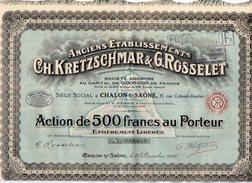 VP9746 - CHALON SUR SAONE 1928 - Action - Anciens Etablissements CH.KRETZSCHMAR & G.ROSSELET - Industrie