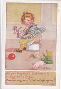 CPA Fillette Sur Un Pot De Chambre Chamber Pot Scatologie Illustrateur M. ALYS Légende Anglaise + Française - Humour