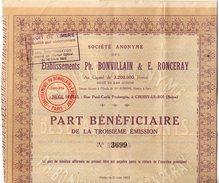 VP9747 - CHOISY LE ROI X PARIS 1922 - Action - Société Des Etablissements PH.BONVILLAIN & E.RONCERAY - Industrie