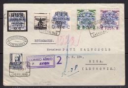 España 1937. Canarias. Carta De Las Palmas A Riga. Censura. - Marcas De Censura Nacional