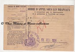 1931 - CARTON JULIEN A RUE DANS SOMME - TAMPON 3 EME REGIMENT DU GENIE - CHEMIN DE FER DU NORD - ORDRE D APPEL MILITAIRE - Documenti