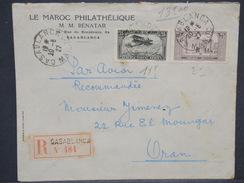 FRANCE / MAROC - Enveloppe En Recommandé De Casablanca Pour Oran En 1927 , Affranchissement Plaisant - L 6829 - Marocco (1891-1956)