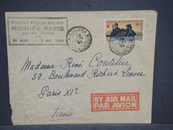 NOUVELLE CALÉDONIE - Enveloppe 1 Er Vol Nouméa / Paris En 1949 , Affranchissement Plaisant - L 6830 - Neukaledonien