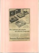FRANCE . TROUSSES MANUCURE CUTEX  . PUB  DES ANNEES 1920 . DECOUPEE ET COLLEE SUR PAPIER . - Publicités
