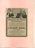 FRANCE . L'ELIXIR ZIDAL  . PUB  DES ANNEES 1920 . DECOUPEE ET COLLEE SUR PAPIER . - Publicidad