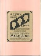 FRANCE . CREME MALACEÏNE  . PUB  DES ANNEES 1920 . DECOUPEE ET COLLEE SUR PAPIER . - Pubblicitari