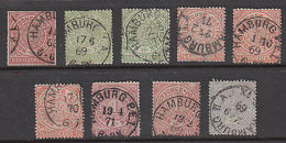North German Confederation: Old Stamps Postmarked Hamburg, 1868-72 - Germany