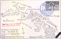 PAKISTAN 19-07-1960 SALTORO EXPEDITION CARD COMMERCIALLY MAILED, SPECIAL CANCELLATION ON LABEL, SIGNATURE OF EXPEDITORS - Pakistan