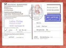 Gebuehrenfreie Mitteilung, Lediglich Luftpostzuschlag EF Ihrer, SoSt Hannover Flughafen, Nach Heidelberg 1989 (36822) - [7] République Fédérale