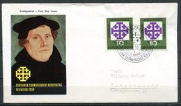 """First Day Cover Germany 1959 Mi.Nr.314 Ersttagsbrief""""Deutscher Evangel.Kirchentag,München -Martin Luther"""" 1 FDC - Cristianesimo"""