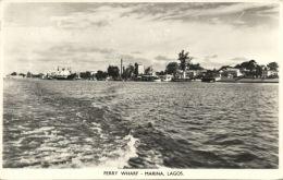 Nigeria, LAGOS, Marina, Ferry Wharf, Panorama (1950s) RPPC - Nigeria