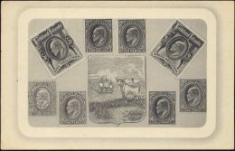 Falkland Islands, Stamp Postcard, Coat Of Arms (1910s) - Falkland