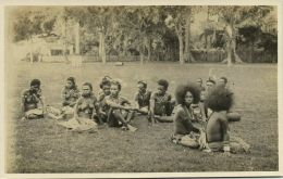 New Guinea, Group Of Native NUDE Papua Girls And Males (1930s) RPPC - Papua New Guinea