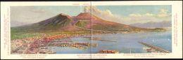 Italy, NAPOLI, Vesuvio, Mount Vesuvius Volcano & Railway (1910s) Double Panorama - Napoli (Naples)