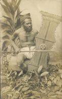 Philippines, COTABATO, Armed Native Mountain Moro Warrior, Shield (1910s) RPPC - Philippines