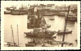 China, HONG KONG, Harbour Scene, Junks Steamer (1937) Cereghini RPPC Postcard - China (Hong Kong)