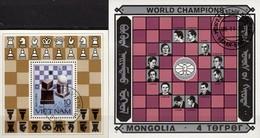 Schach 1983 Vietnam Block 18+Mongolia Bl.113 O 14€ Schachbrett Champion Euwe Hoja Ss Blocs Souvenir Sheets Bf Chess - Chess