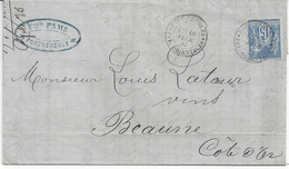 LETTRE Avec CORRESPONDANCE - N° 101 - De PORT VENDRES Pour BEAUNE - 3 Cachets CONVOYEUR Au Dos - Marcophilie (Lettres)