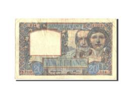 France, 20 Francs, 20 F 1939-1942 ''Science Et Travail'', 1942, 1942-01-08 - 1871-1952 Anciens Francs Circulés Au XXème