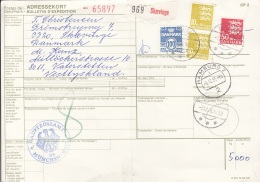 DÄNEMARK - 2 X 10 + 50 + 100 Öre Auf Paketkarte (Bulletin), Gel.1985 V. Skaeving überHamburg Nach München - Dänemark