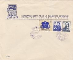 ROUMANIE 1956 - 3 Fach Frankierung Auf Firmenbrief Gel.v.Bukarest Nach Budapest - 1948-.... Republiken